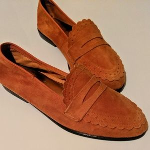 UNISA Vintage Orange Suede Loafers / Flats (6)